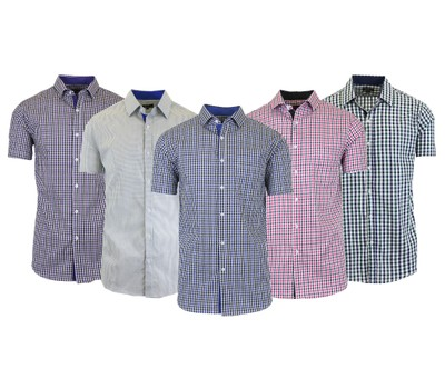 Men's Short Sleeve Slim-Fit Casual Checkered and Gingham Dress Shirts (M-2XL) Was: $48 Now: $13.99.