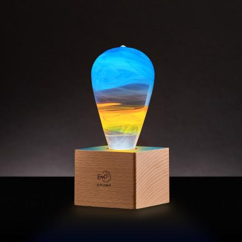 Artistic LED Light Bulb w/ Wooden Base (Multiple Styles)