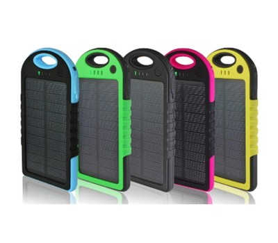 Water-Resistant Solar 5,000 mAh Power Bank for Mobile Devices Was: $49.99 Now: $10.99.