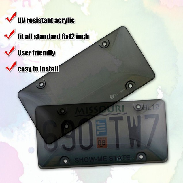 2-Pack Zone Tech Tinted Clear Smoke License Plate Tag Frame Cover Car Truck