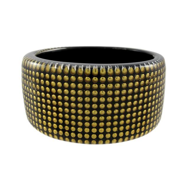 1 1/2 Inch Wide Goldtone Nailhead Studded Lucite Womens Bangle Bracelets
