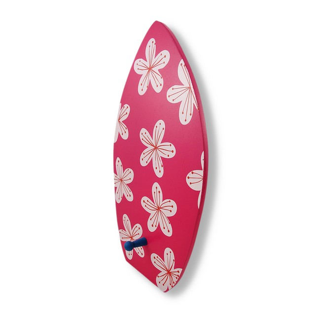 Wooden Surfboard With Flowers Decorative Wall Hook Decorative Wall Hooks