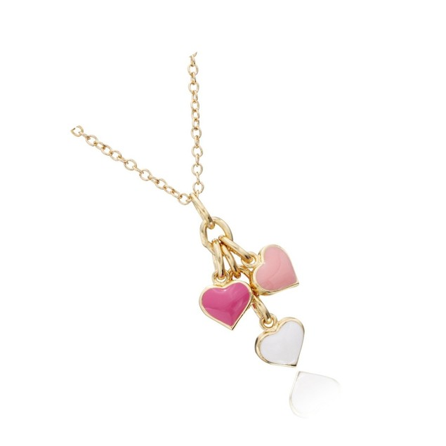 """18K Gold Plated 3 Dangling Enameled Hearts Children's Necklace-(14"""" + 2"""" Extention)"""