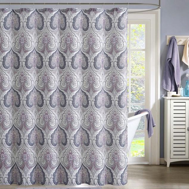 "Ruthy's Textile Printed Faux Silk w/Rollerball Hooks Shower Curtain 72""x72"""