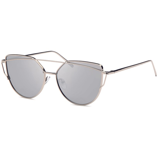 Double Bridge Inspired Silver Women Sunglasses