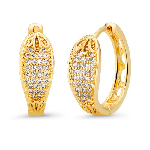 18kt Yellow Elegant  Goldtone Cubic zirconia  Huggie Earrings