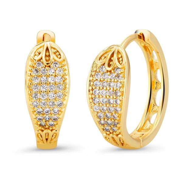 18kt Yellow Elegant  Goldtone Cubic zirconia  Huggie Earrings