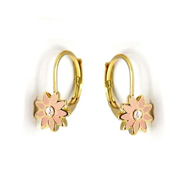 18KGP Light-Pink Enameled Flower W/ Cubic Zirconia Leverback Post Earrings.