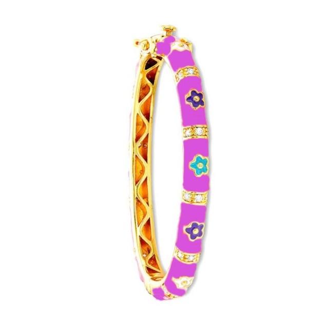 18KGP Light-Purple Enameled Daisy Flowers W/C.Z Chidren's Bangle Bracelets
