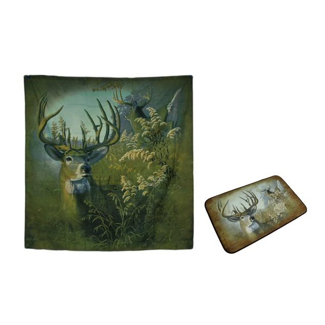 2 Pc. Twin Bucks Whitetail Deer Fabric Shower Bathroom Accessory Sets