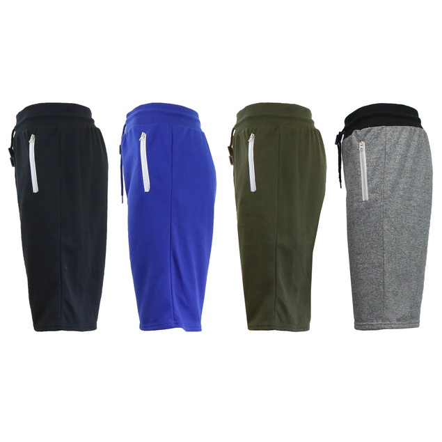 4-Pack Men's Marled or Solid French Terry Shorts with Zipper Pockets