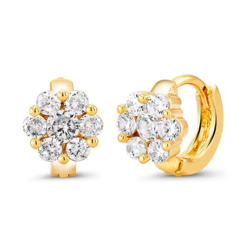 18kt Yellow Flower Goldtone Cubic zirconia  Huggie Earrings