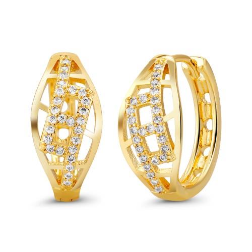 18kt Yellow Fancy Drop Goldtone Cubic zirconia  Huggie Earrings