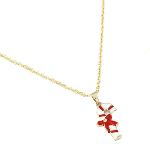 """18KGP Candy Cane Enamled & Cubic Zirconia Pendant W/16"""" Cable Chain Set"""