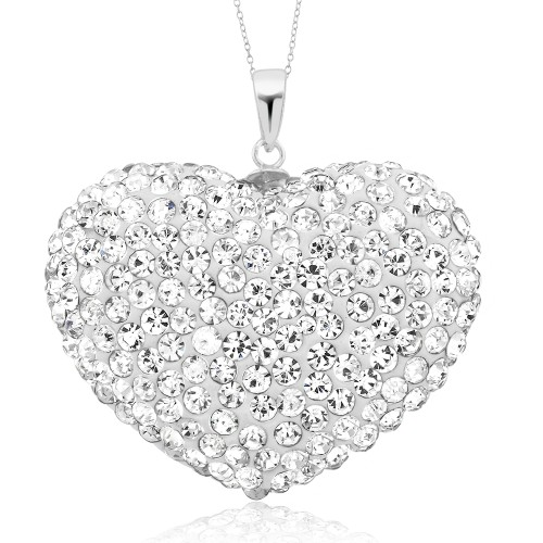 18kt White Gold Plated Crystal Heart Drop Necklace
