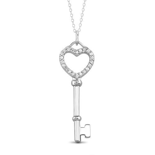 "0.925 Sterling Silver Cubic Zirocnia Key Heart Shape Pendant W/ 18"" Cable Chain Set"