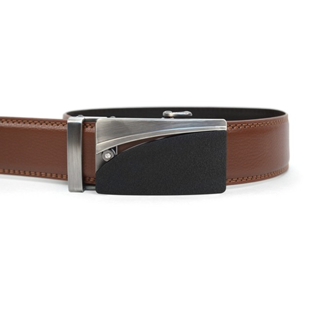 2-Pack Mystery Men's Genuine Leather Sliding Buckle Ratchet Belt