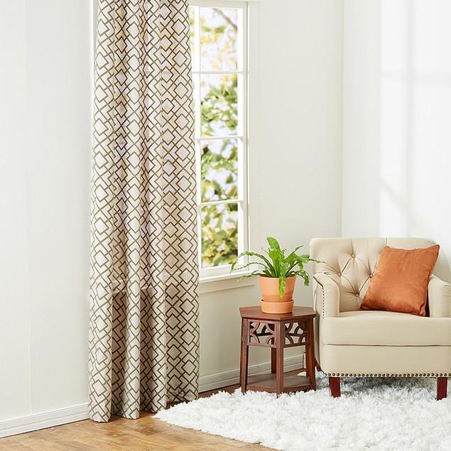 Ruthy's Textile 2-Piece Faux Flax Flock Grommet Window Panel