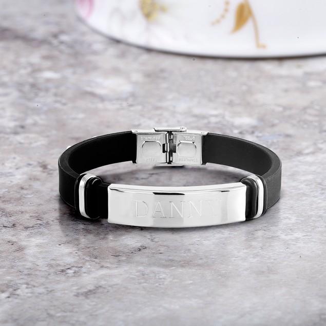 Personalized Bar Rubber Men's Bracelet
