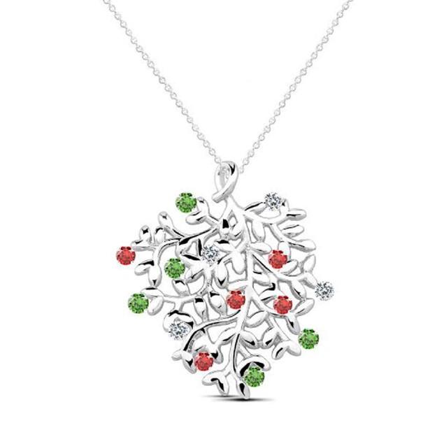 Holiday Gemstone Leaf of Life Pendant Necklace