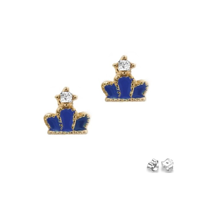 18KGP Blue Enameled Cubic Zirconia Crown Children's Post Earrings