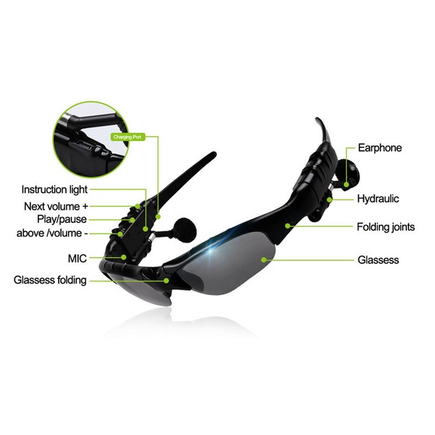 Smart Glasses w/ Wireless Bluetooth Headphones for Smartphones