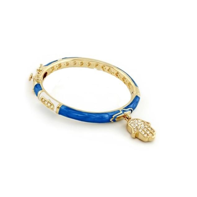"18KGP White & Blue Enameled C.Z Bangle W/ Dangling ""HAMSA"" Charm Children's Bangle Bracelets"