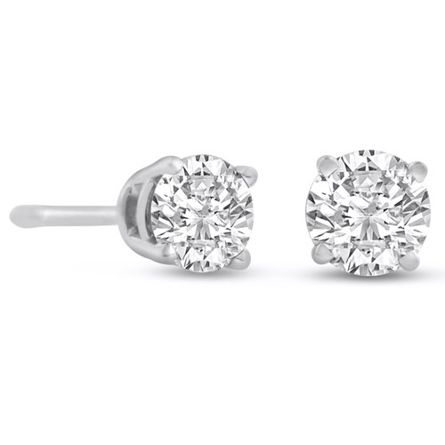 14k White Gold 1/2 Carat Genuine Diamond Stud Earrings