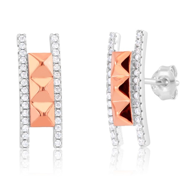 Rose Gold Plated Sterling Silver Pyramid Ladder Earrings