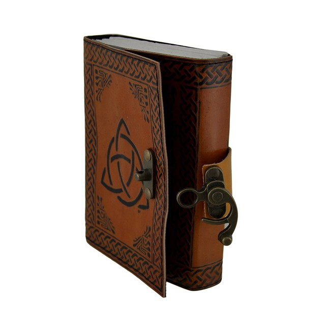 Triquetra Two-Tone Brown Embossed Leather Bound Art Sketchbooks And