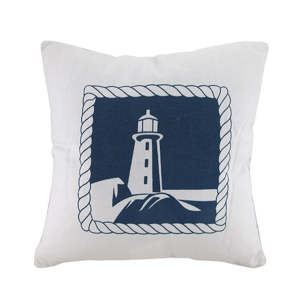 White And Blue Lighthouse Decorative Canvas Throw Throw Pillows