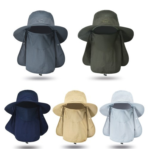 Unisex Sun Protection Cap Wide Brim Fishing Hat with Neck Flap Summer Outdoor