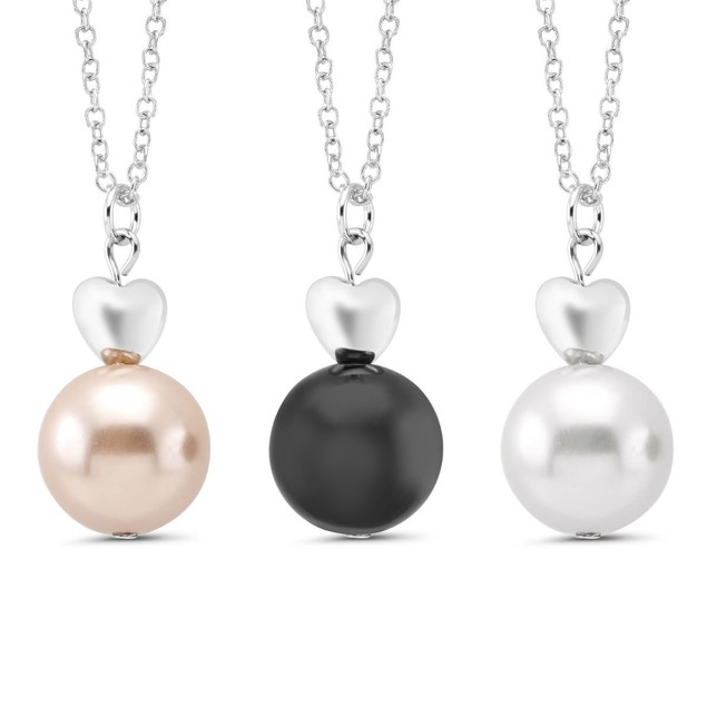 3-Pack: Faux Pearl Necklace Set with 3 Colors