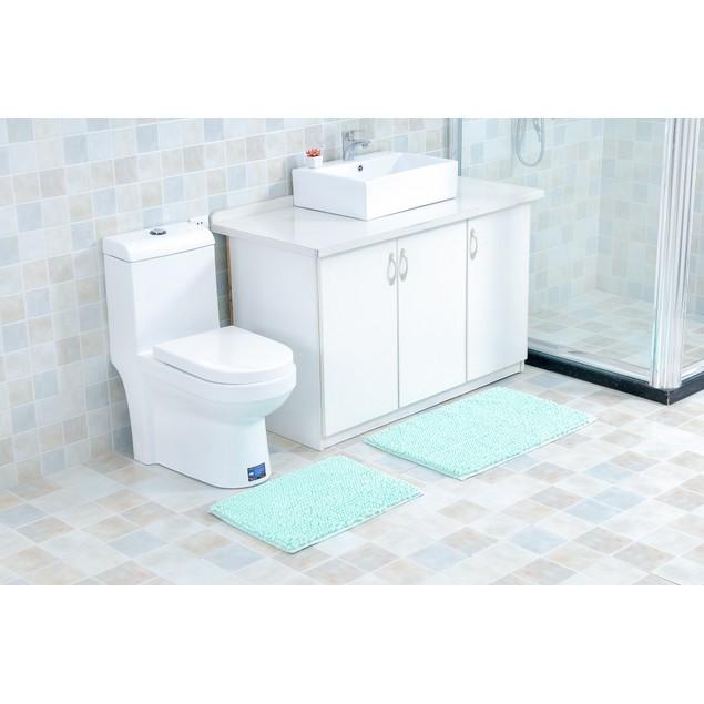 2-Piece Plush Chenille Noodle Extra-Soft Bathroom Mat Set w/ Latex Backing