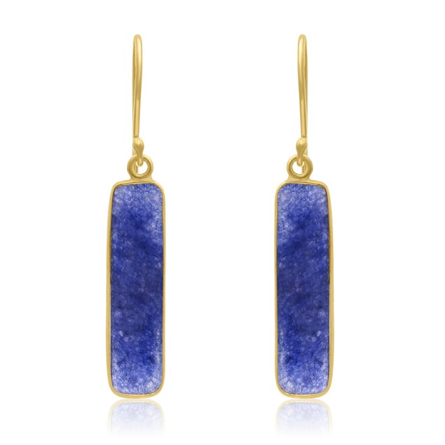"Gold Tone Sterling Silver 11cttw Sapphire Bar Earrings, 1"" Long"