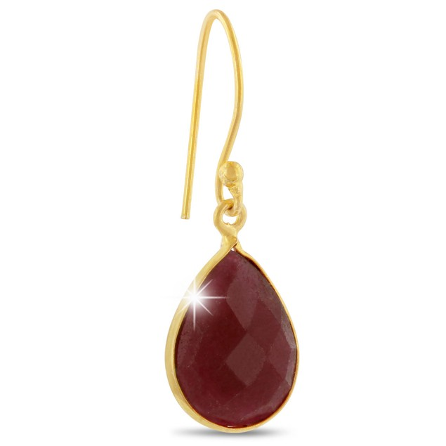 12ct Dyed Ruby Pear Shape Earrings In 18 Karat Gold Overlay