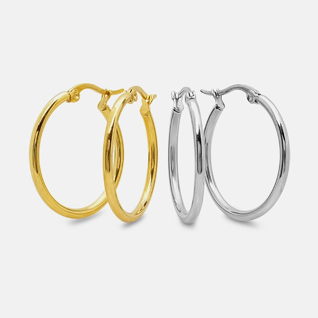 Stainless Steel Set Of 2 Hoops In Metallic And 18kt Gold Plated