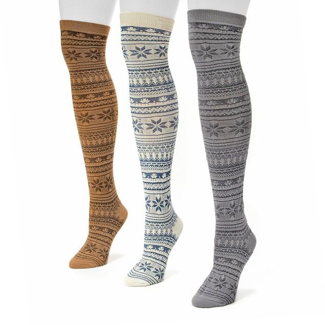 3 Pairs: Women's Muk Luk Cozy Over the Knee Socks