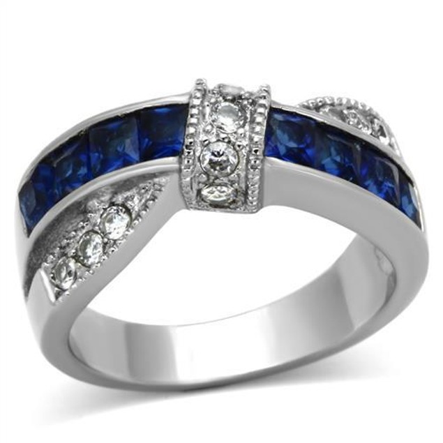 1.75 ct Sapphire Blue & Clear Cz Stainless Steel Fashion Ring