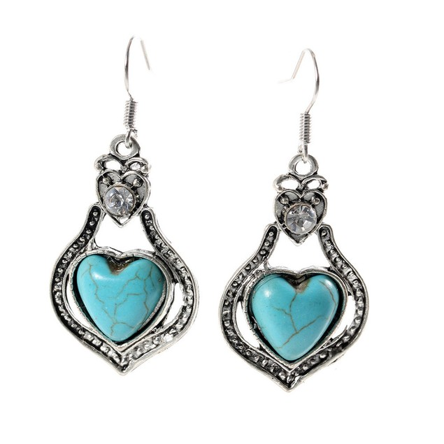 Antique Turquoise Drop Heart Dangle Earrings