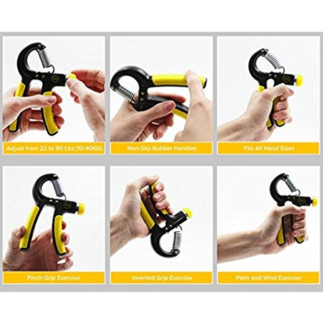 2-Pack Hand Grip Strengthener w/ Non-Slip Grips & Easy Tension Dial