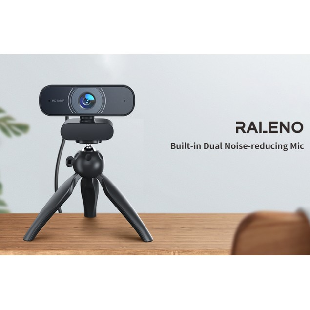 RALENO 1080P Webcam with Dual Built-in Microphones