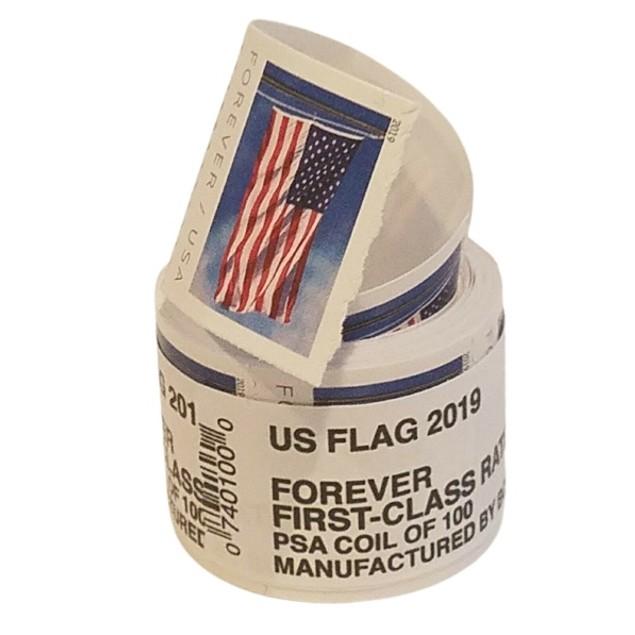 100-Pack USPS Forever Stamps - 2018/19 U.S. Flag, Hearts Blossom, or Patriotic Spiral