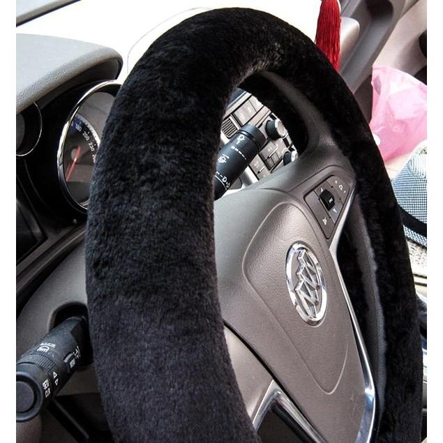 Zone Tech Plush Soft Stretch On Car Steering Wheel Cover Black
