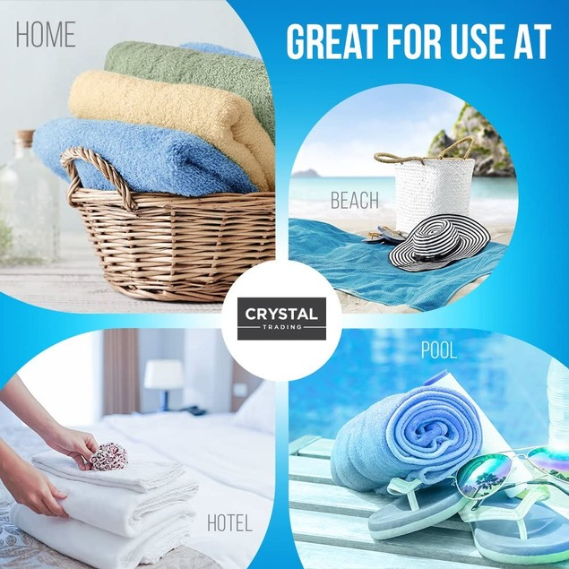 7 Pack: CrystalTowels 27'' X 52'' 100% Cotton Extra- Absorbent Bath Towels