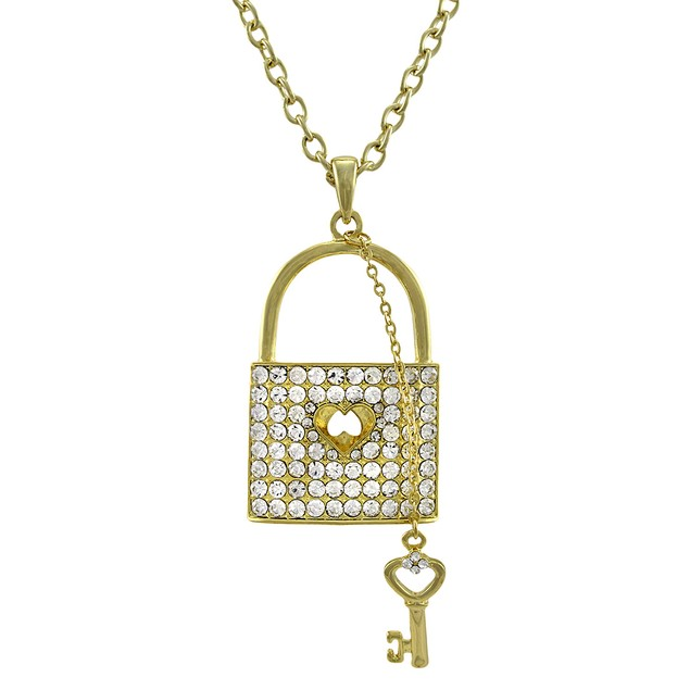 Gold Tone Rhinestone Lock Necklace With Key Charm Pendant Necklaces