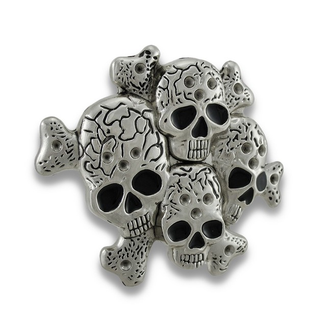 Chrome Multiple Skulls & Crossbones Belt Buckle Mens Belt Buckles