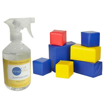 7-Piece Toddler Block Set +Natural Cleaner for Toys,16 FL OZ