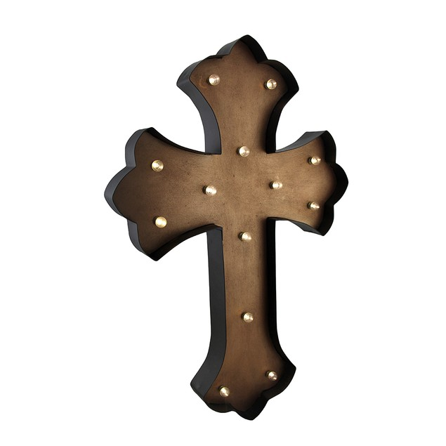Tan Led Lighted Wall Mounted Cross 24 X 16 Wall Crosses