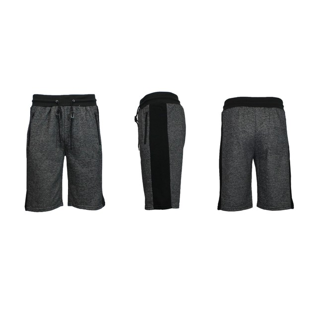 Men's French Terry Shorts With Zipper Pockets And Contrast Trim